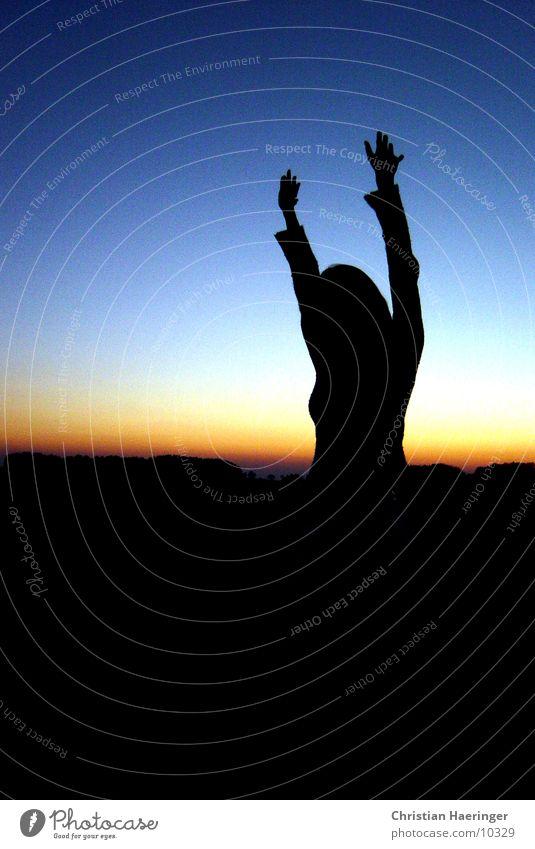 so big... Back-light Woman Upper body Human being Sky Evening
