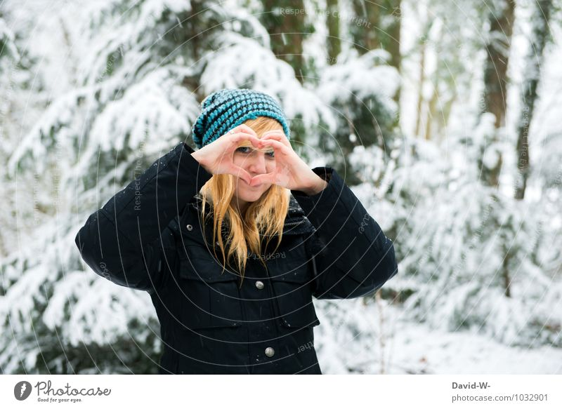Human being Nature Youth (Young adults) Beautiful White Young woman Winter Forest Emotions Snow Love Feminine Happy Friendship Happiness Smiling