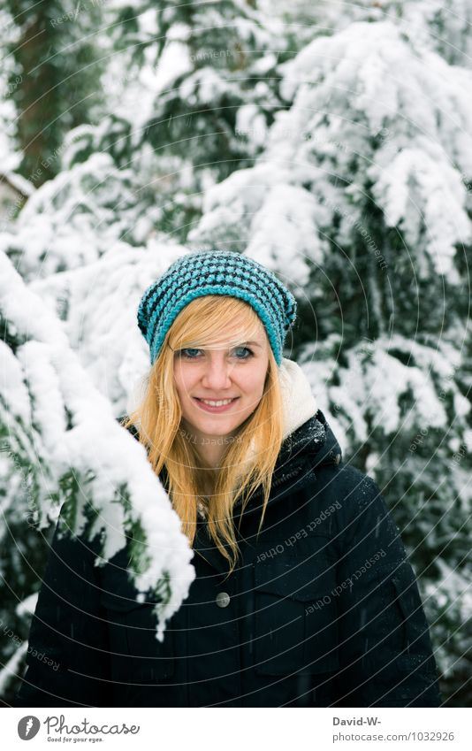 Human being Woman Nature Youth (Young adults) Blue Beautiful Young woman Landscape Winter 18 - 30 years Forest Adults Life Love Snow Feminine