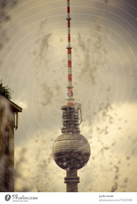 Tower with splash Sightseeing GDR Drops of water Clouds Antenna Landmark Berlin TV Tower Famousness Retro Past Water fountain Reaction Inject