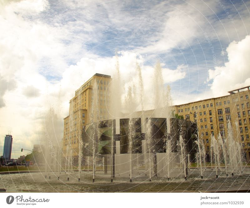 Retro fountain at Strausberger Platz Sightseeing City trip Classicism Socialism GDR Nostalgia for former East Germany Clouds Friedrichshain Downtown Places