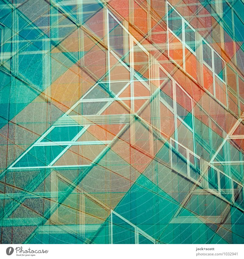 Centrum department store doubled Design GDR Shopping center Facade Window Square Cross Sharp-edged Retro Orange Turquoise Chaos Surrealism Illusion Reaction