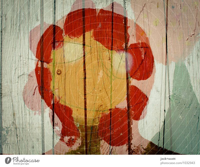 flower child Head Street art Flower Wooden fence Dream Happiness Spring fever Optimism Agreed Idea Creativity Surrealism Change Double exposure Love of nature