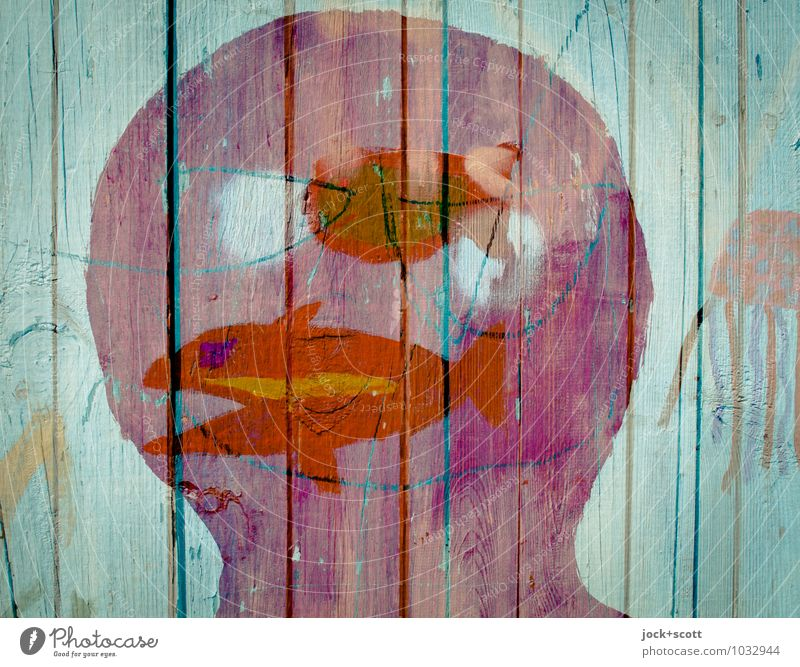 fish in the head Head Art Street art Fish Wooden fence Pictogram Think Dream Happiness Moody Agreed Creativity Whimsical Surrealism Irritation Double exposure