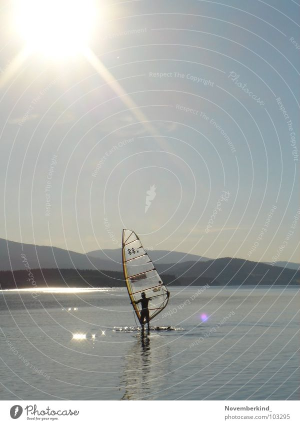 Nature Water Sky Sun Ocean Blue Joy Mountain Freedom Gray Lake Landscape Bright Surfing Sail Surfer