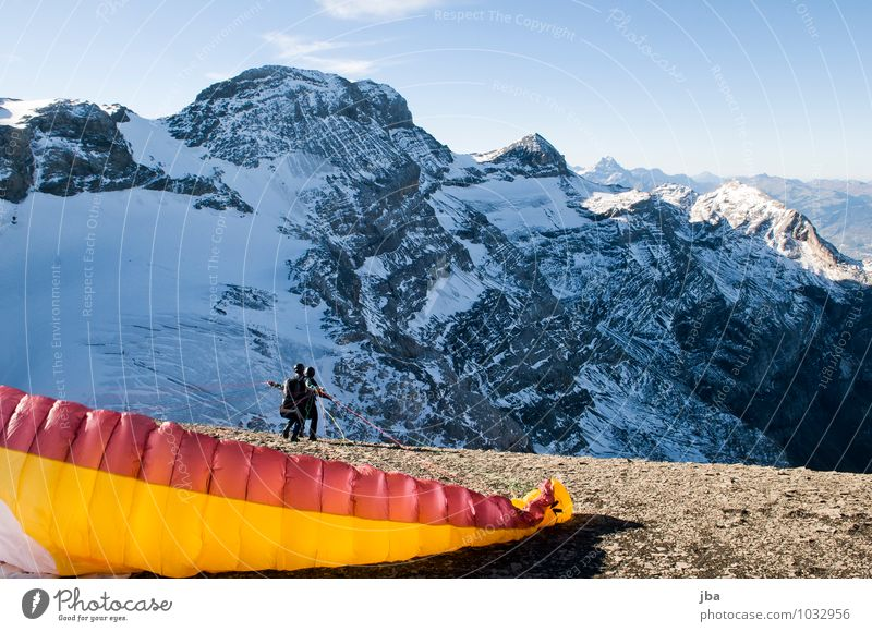launch Lifestyle Calm Leisure and hobbies Trip Freedom Winter Snow Mountain Sports Paragliding Paraglider Sporting Complex Nature Landscape Autumn