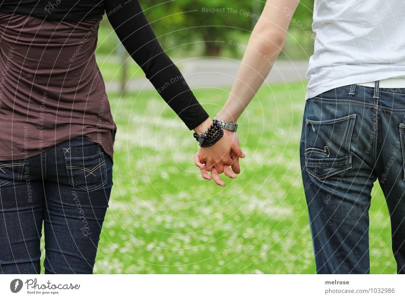 hand in hand Lifestyle Happy Young woman Youth (Young adults) Young man Couple Partner Body Arm Hand Fingers Legs 2 Human being 18 - 30 years Adults Nature