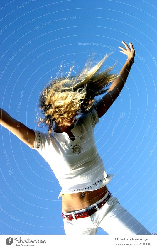 blue sky Sky Blue Blonde Stomach Piercing Woman Athletic White Progress Hair and hairstyles Belt Human being