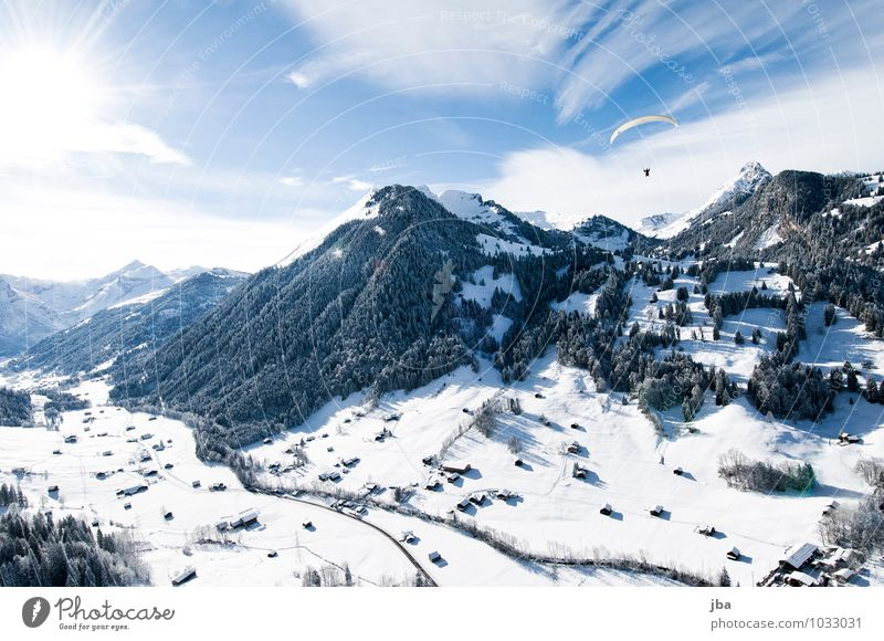 flight home Life Harmonious Relaxation Calm Leisure and hobbies Trip Far-off places Freedom Winter Snow Mountain Sports Paragliding Nature Landscape Elements