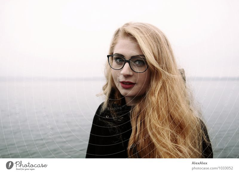 portrait Trip Ocean Young woman Youth (Young adults) Head Hair and hairstyles Freckles brood 18 - 30 years Adults Fog Bay Coat Eyeglasses Red-haired Long-haired