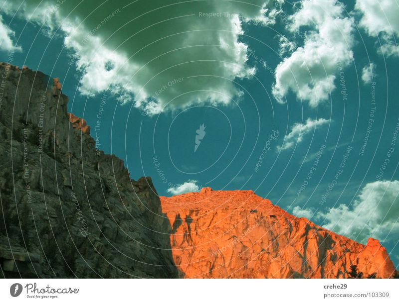 Nature Sky Blue Summer Clouds Style Mountain Landscape Bright Orange Rock Tall Crazy Hot