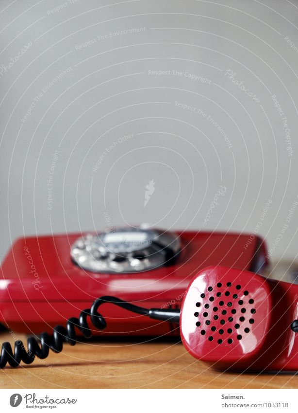 Hellooooo???? Telephone Red Communicate Telecommunications Receiver Retro Vintage To talk Listening Rotary dial Colour photo Interior shot Detail Copy Space top