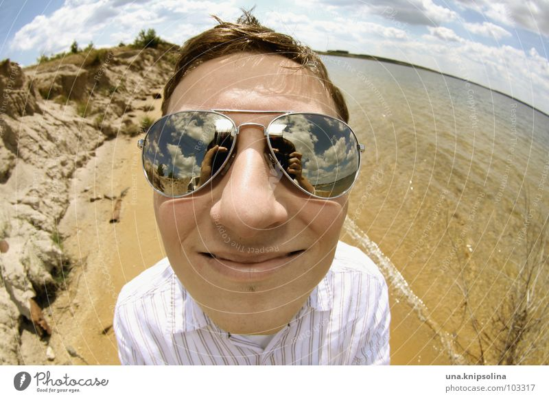 Man Youth (Young adults) Water Ocean Summer Beach Joy Clouds Adults Landscape Coast Lake 18 - 30 years Young man Eyeglasses Round