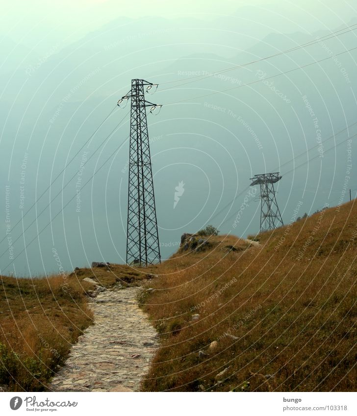 Postcard for Beagle Narrow Mountain ridge Hill Fog Electricity Electricity pylon Cable Grass Going Loneliness Aimless Italy Lanes & trails mountain chain hilly