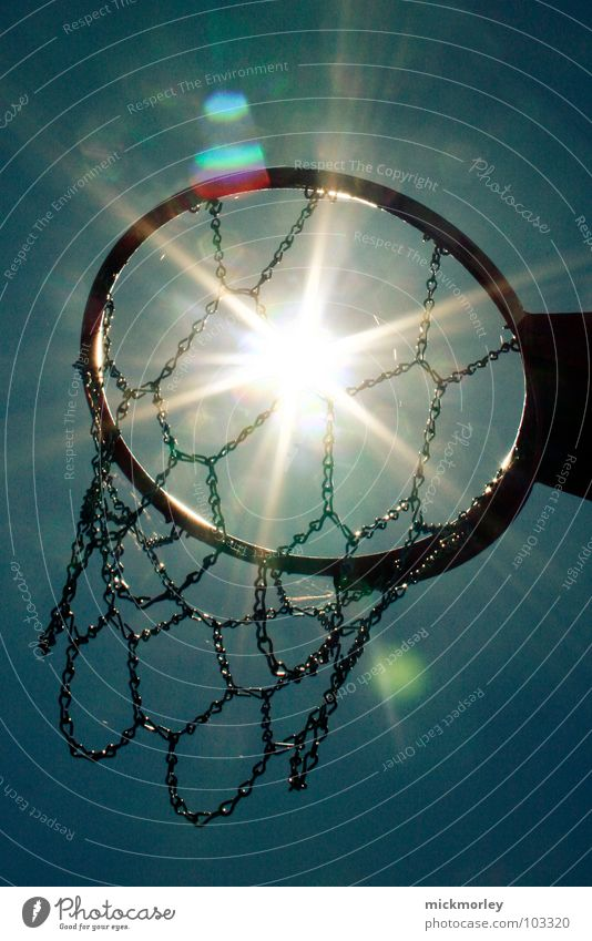 basket in the sun Steel Basketball basket Summer Playing Stop Dribbling Captain Hook Sports Sun Sky Net Chain Circle Ball streetball To enjoy Life Action and go