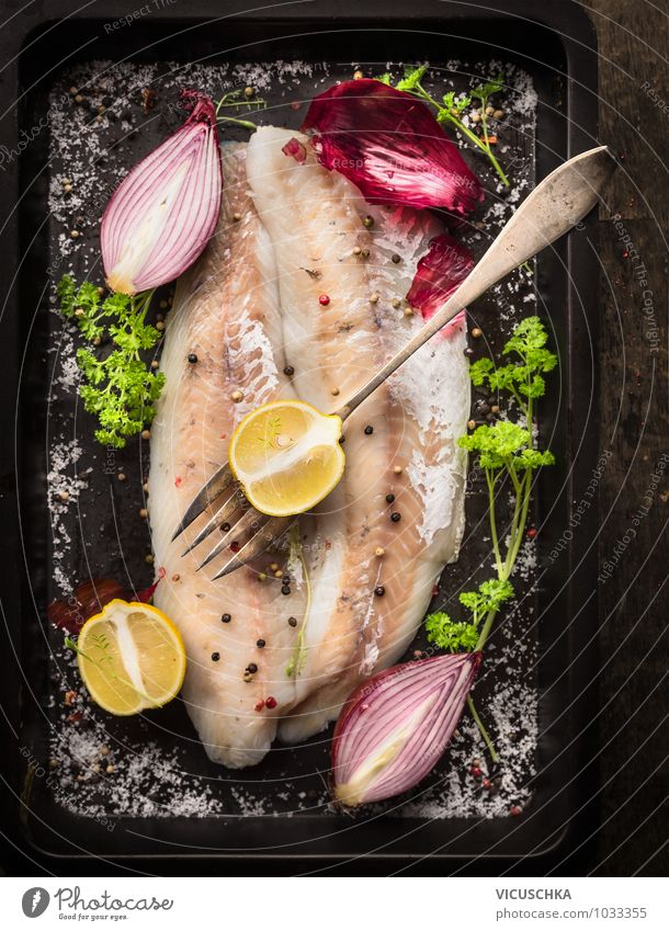 Fish fillet with lemon and red onion Food Herbs and spices Cooking oil Nutrition Lunch Banquet Organic produce Vegetarian diet Diet Fork Style Design