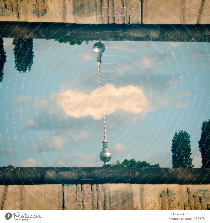 Summer Tree Clouds Wall (building) Wall (barrier) Division Border Landmark Irritation Surrealism Double exposure GDR Sightseeing Inspiration Downtown Berlin