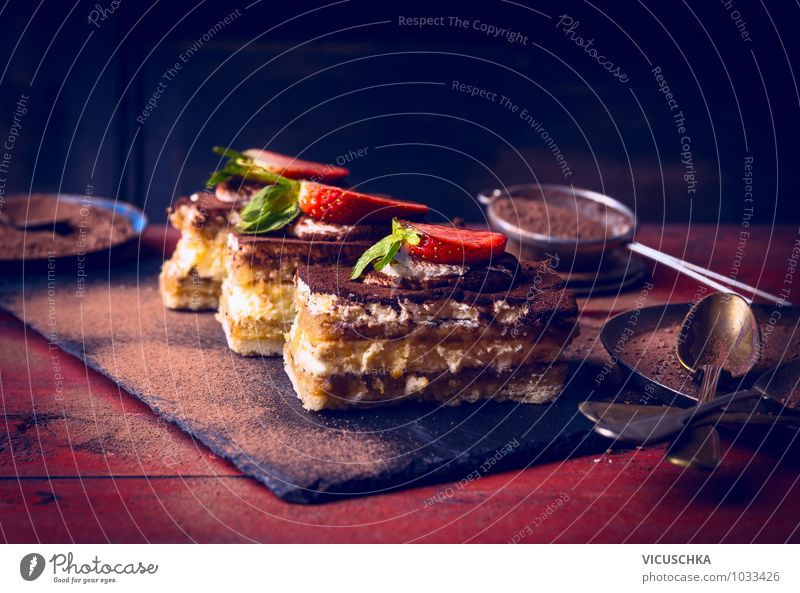Tiramisu with strawberries on a red wooden table Food Dessert Candy Chocolate Nutrition Crockery Elegant Style Design Leisure and hobbies Kitchen Cake tiramisu