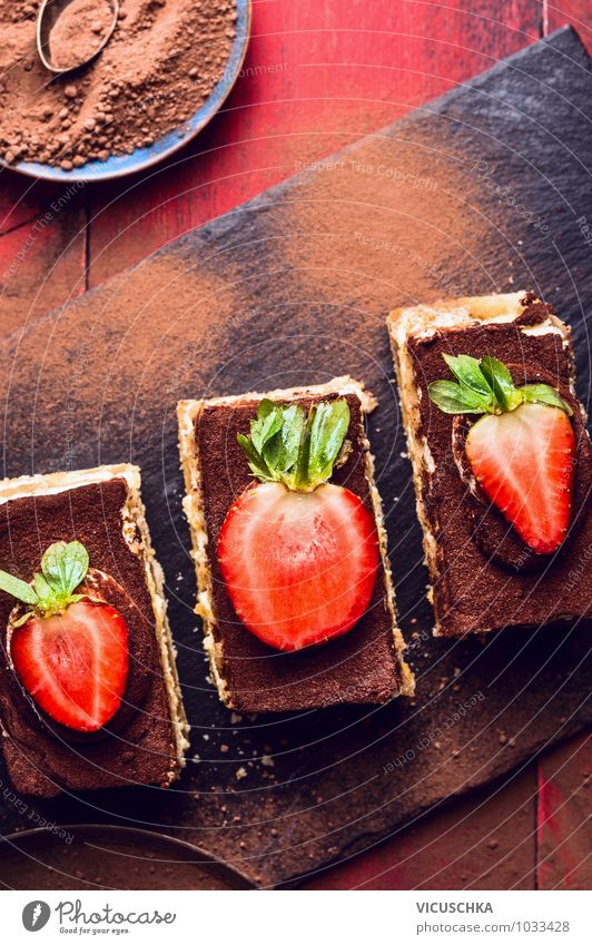Three Tiramisu cakes with strawberries Food Dough Baked goods Cake Dessert Candy Chocolate Nutrition To have a coffee Buffet Brunch Banquet Diet Italian Food