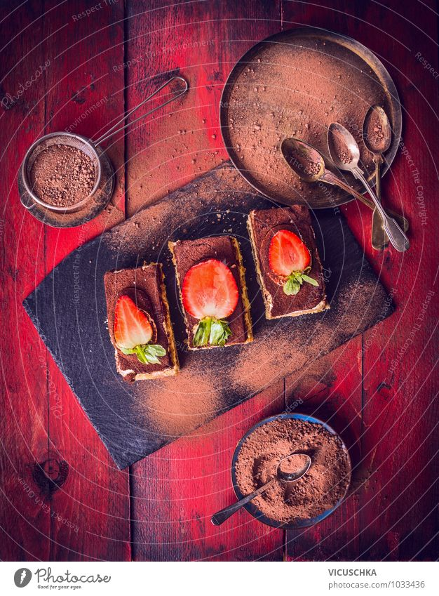 Tiramisu cake on red wooden table Food Dough Baked goods Cake Dessert Nutrition To have a coffee Vegetarian diet Diet Crockery Plate Bowl Spoon Style Design
