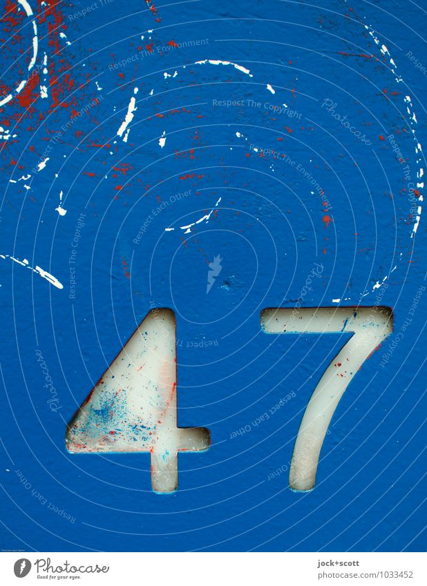 47 formed from metal Typography Decoration Metal Digits and numbers Signs and labeling Graffiti Simple Retro Blue Precision Quality Low-cut Ravages of time