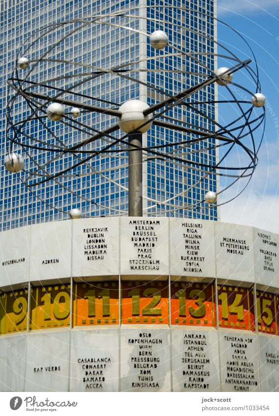 Time for retro on the world time clock Design Sightseeing Typography World time clock GDR Installations Sky Downtown Berlin High-rise Glas facade Alexanderplatz