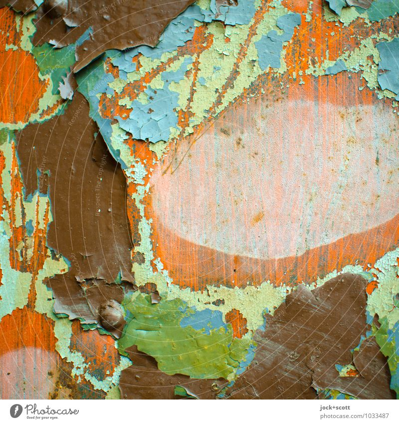 Colour palette in layers Varnish Wood Wood grain Scratch mark Old Broken Many Blue Brown Green Orange Agreed Apocalyptic sentiment Past Transience Destruction