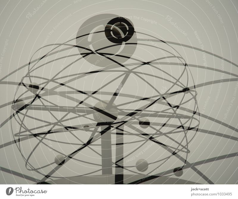 planetary system Design Science & Research Sculpture Astronomy Planet GDR World time clock Line Double exposure Orbit Planetary Abstract Silhouette Reaction