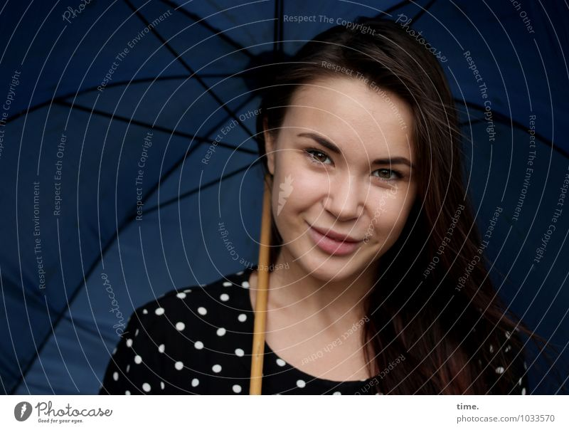 . Feminine Young woman Youth (Young adults) 1 Human being Dress Umbrella Brunette Long-haired Observe Smiling Looking Wait Beautiful Contentment