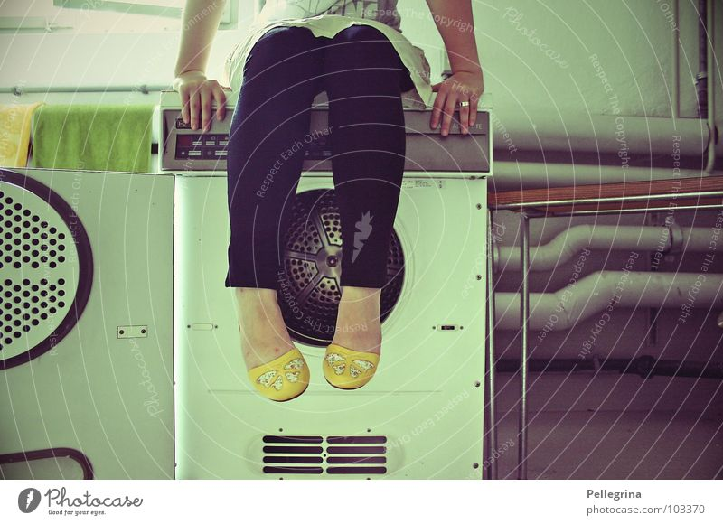Woman Hand Yellow Dream Legs Footwear Wait Sit Table Washing Laundry Washer Washing day