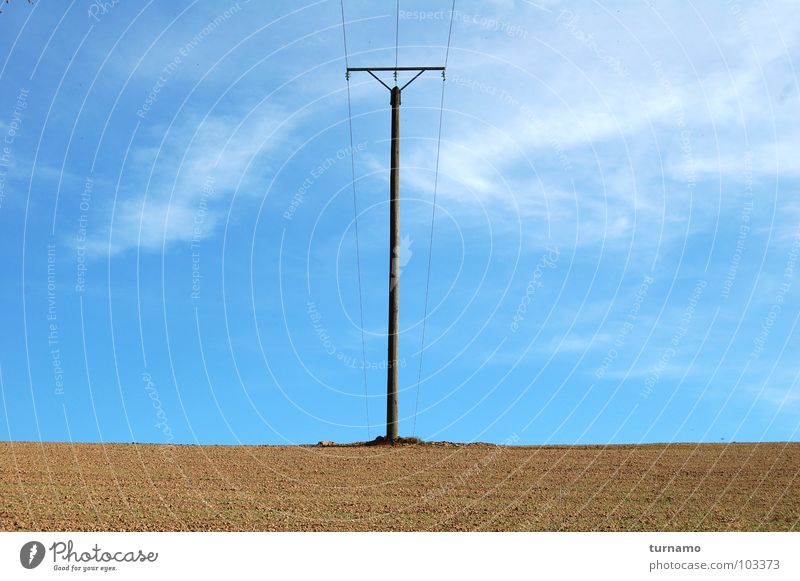 The power pole Blue Sky Electricity pylon Loneliness Large Self-confident Symmetry Telegraph pole Land Feature Brown Earth Outback Industry Landscape