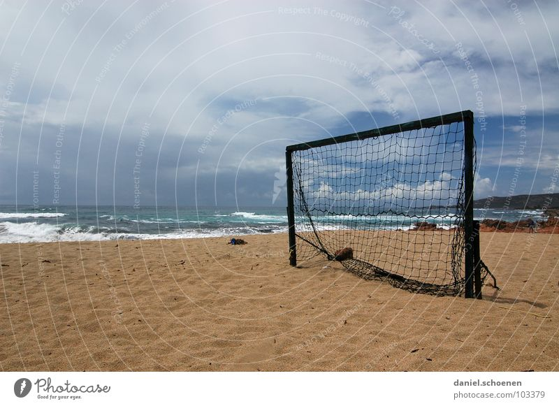 half-time break Soccer Goal Beach Ocean Horizon Vacation & Travel Clouds Background picture Empty Loneliness Corsica France Waves White Joy Sports Playing Sky