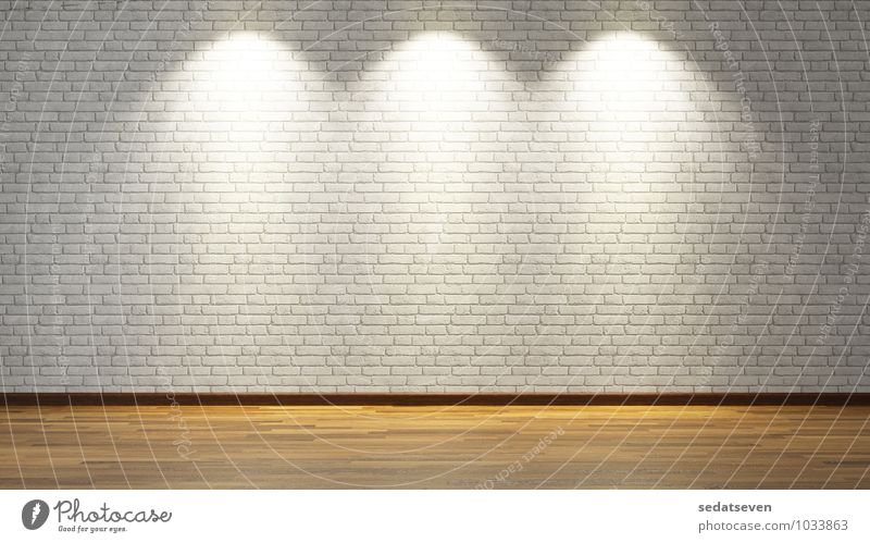 3D rendering white brick wall Design Lamp Building Architecture Stone Concrete Old Dirty Brown Gray White White Room parquet Consistency wood background block
