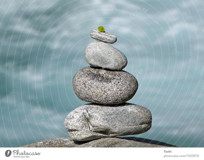Balace, stones by the water Harmonious Calm Meditation Water Leaf Stone Relaxation Fresh Natural Blue Gray Green White Attentive Serene Patient Contentment