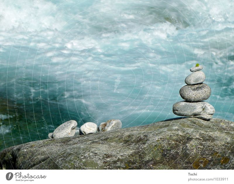 Stones by the water, Senses Relaxation Calm Meditation Nature Water Rock Positive Clean Blue Gray Green White Joie de vivre (Vitality) Attentive Serene Patient