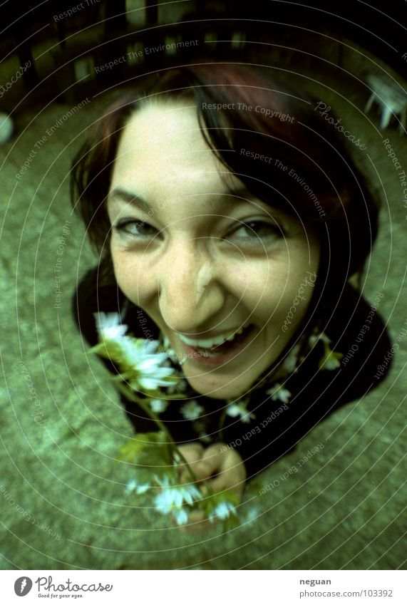 the cheeky garden rabbit Fisheye Crazy Emotions Green Flower Summer Hideous Portrait photograph Woman Wide angle Joy Garden Laughter Brash Nose Eyes Mouth