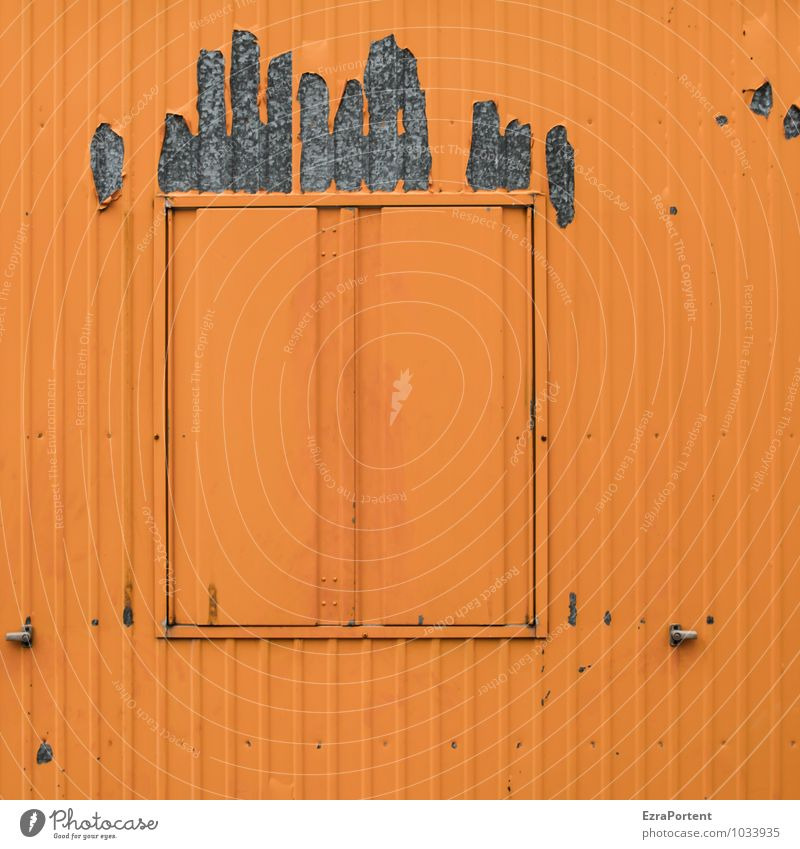 Bad Hair Day Building Wall (barrier) Wall (building) Facade Window Hair and hairstyles Metal Line Gray Orange Colour Closed Container Design Graphic