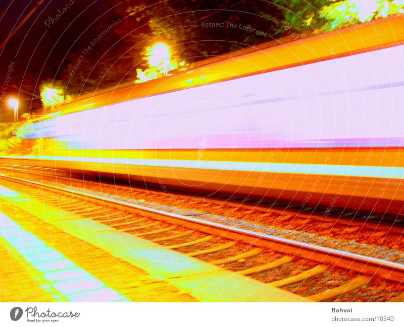 Step by step 3 Railroad Night Long exposure Vacation & Travel Railroad tracks db Station short encounter on the double