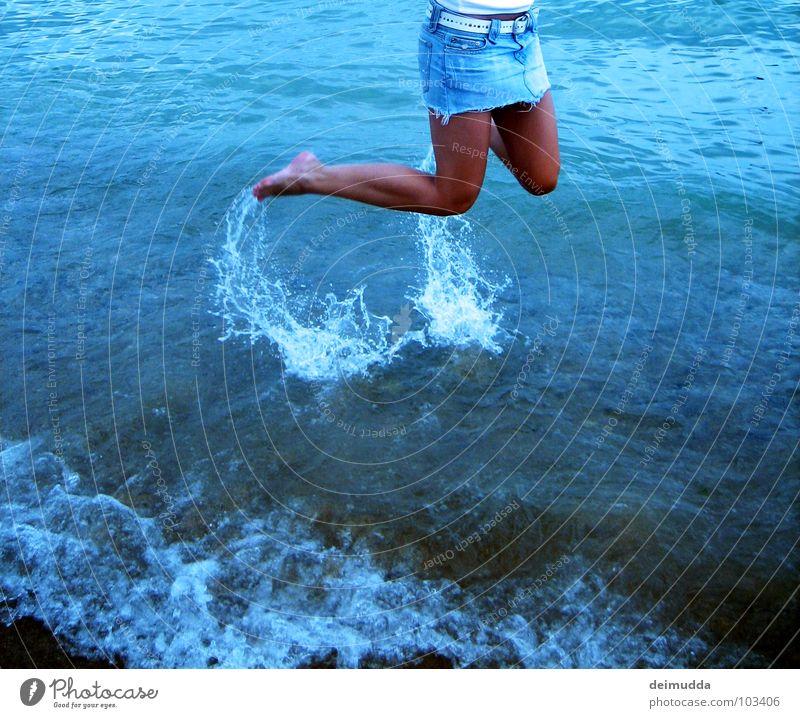 Woman Water Ocean Blue Joy Beach Feminine Jump Happy Feet Sand Legs Brown Skin Wet Sweet