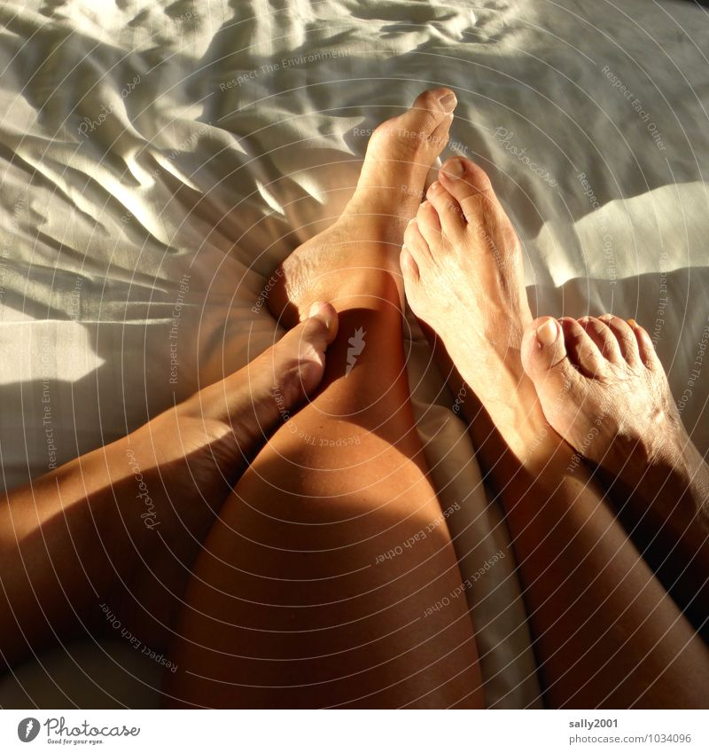 Put your feet up... Living or residing Flat (apartment) Bed Bedroom Human being Couple Legs Feet 2 Touch To enjoy Love Lie Esthetic Feminine