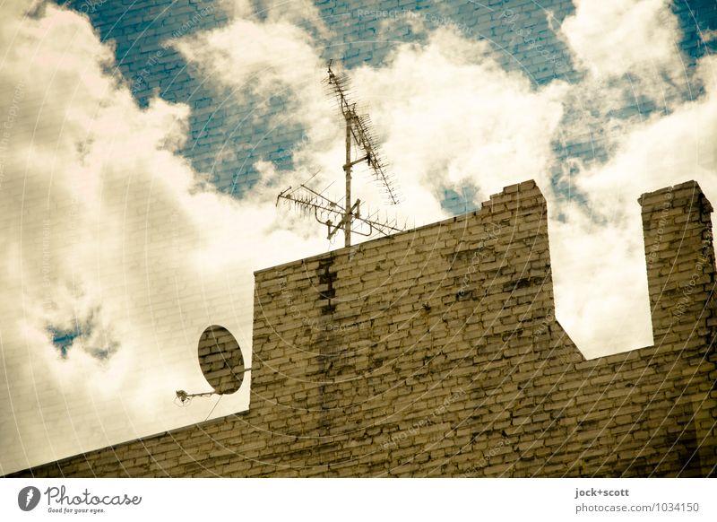 Firewall TV Satellite dish Clouds Kreuzberg Chimney Antenna Fire wall Brick Diagonal Complex Surrealism Irritation Reaction Ready to receive Utopian Detail