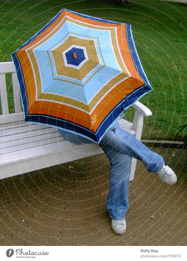 """Who under the umbrella... Multicoloured White Park Sneakers Autumn Umbrella Colour Sit Bench Safety (feeling of) Jeans Relaxation Rain psalm Cross Legs Hide"
