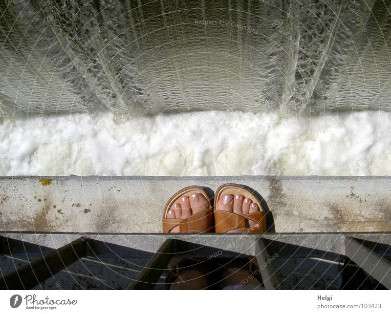 Water White Summer Gray Feet Brown Footwear Pink Wet Bridge Stand River To fall Handrail Sudden fall Edge