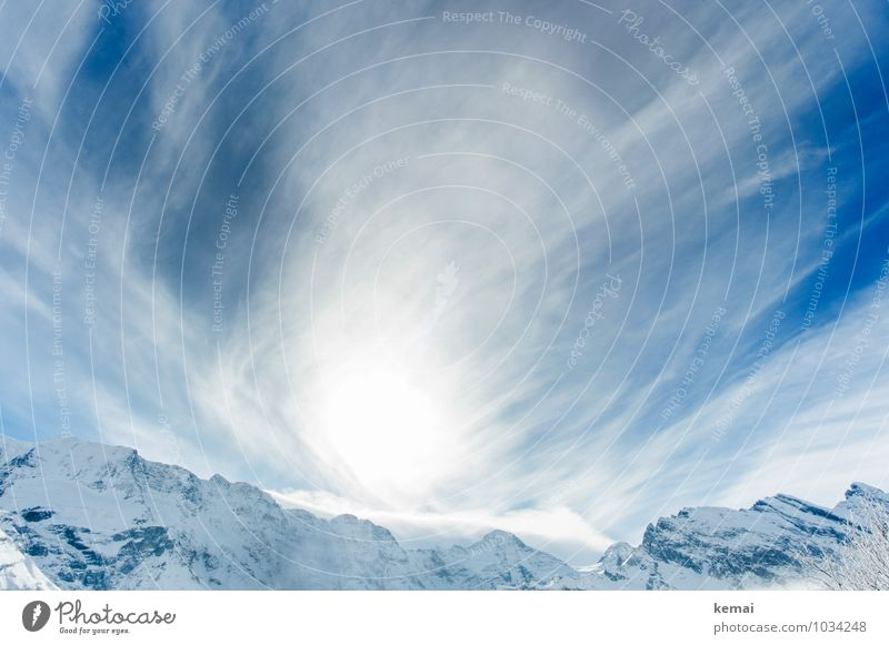 Mountains, sky and clouds Environment Nature Landscape Elements Sky Clouds Sun Sunlight Winter Beautiful weather Ice Frost Rock Alps Peak Snowcapped peak