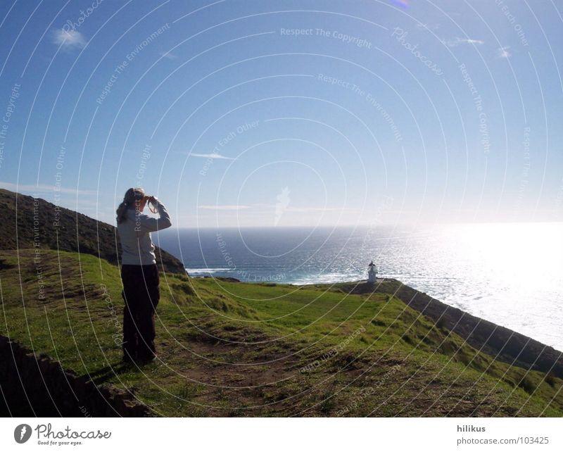 Far far away New Zealand Pacific Ocean Lighthouse Homesickness Meadow Coast Sunset Beach Tasman Sea cape reinga Far-off places