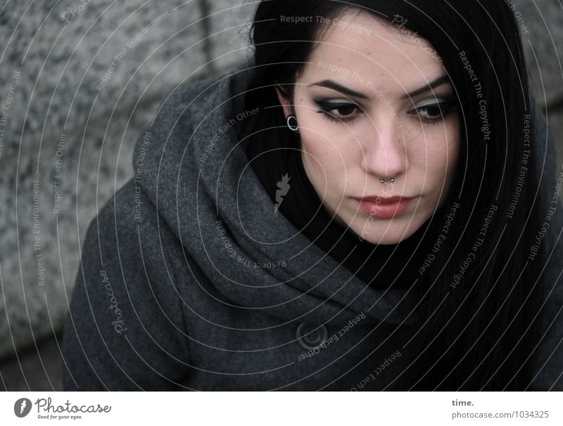 . Feminine Young woman Youth (Young adults) 1 Human being Wall (barrier) Wall (building) Coat Piercing Black-haired Long-haired Observe Think Looking Wait