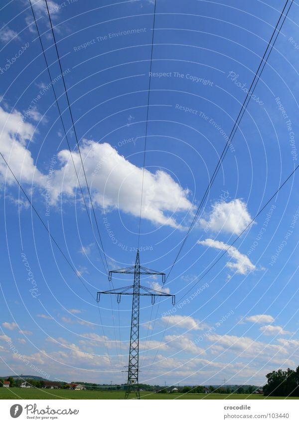 Sky Blue Clouds Landscape Energy industry Tall Electricity Beautiful weather Electricity pylon High voltage power line