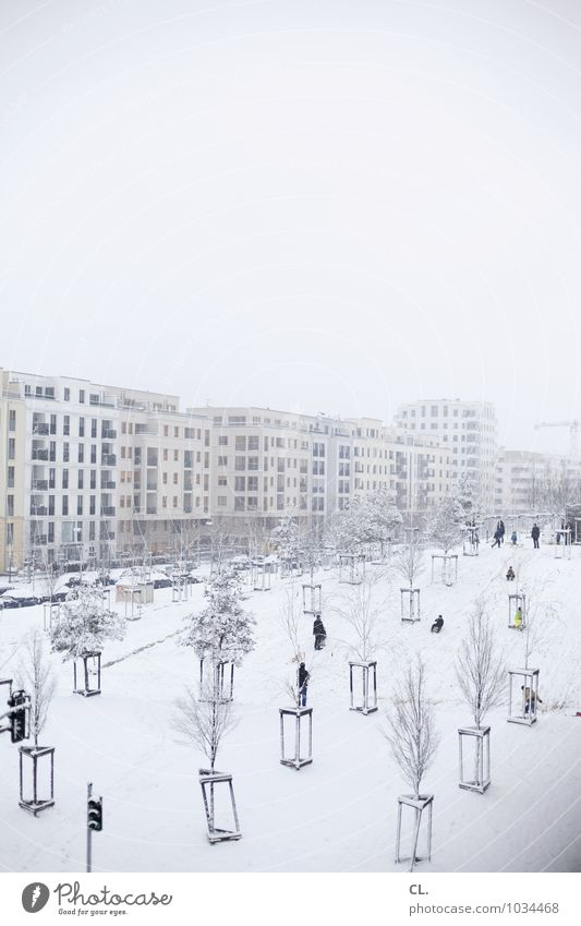 Human being Sky Nature City Tree Landscape House (Residential Structure) Winter Cold Environment Life Architecture Snow Playing Group Snowfall