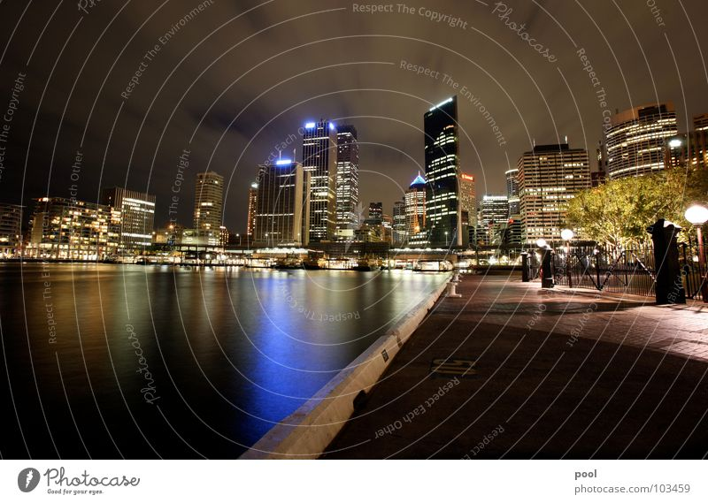 Water Blue City Colour High-rise Harbour Skyline Night Jetty Australia Night shot Sydney Water reflection