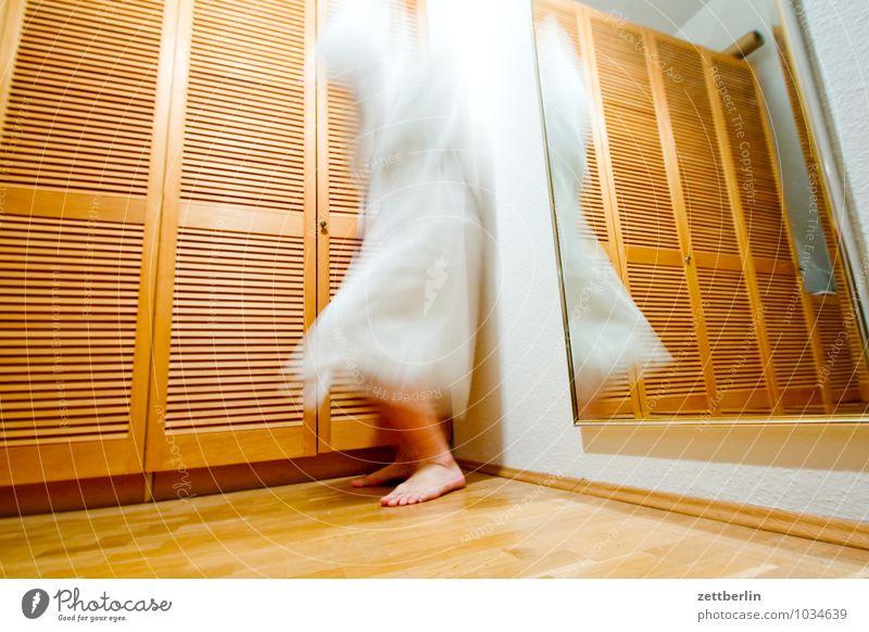 restlessness Movement Motion blur Ghosts & Spectres  Man Human being Bathrobe White Feet Disk Slat blinds Cupboard Blur Living or residing Flat (apartment)